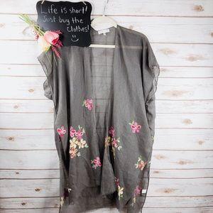Woven Heart gray floral embroidered sheer kimono